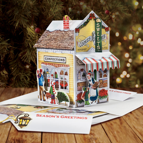 Sweet Shop Pop Up Christmas Card - Side View