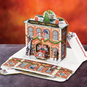 Fire Station Pop Up Christmas Card Ornament - Front View